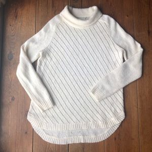 LOU & GREY Cream Turtle Neck Sweater Wool Blend
